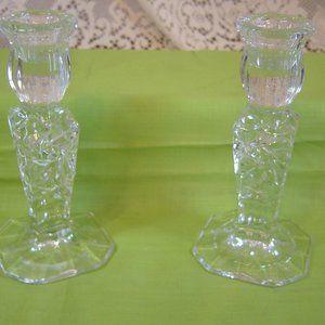 """Cut glass candlesticks 6"""" tall"""
